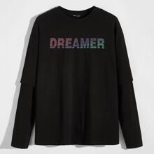 2 In 1 T-Shirt mit Buchstaben Grafik und sehr tief angesetzter Schulterpartie