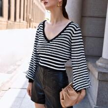 Lantern Sleeve Striped Sweater