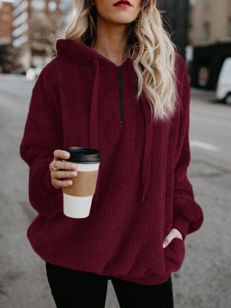 Ericdress Regular Plain Long Sleeve Mid-Length Hoodie