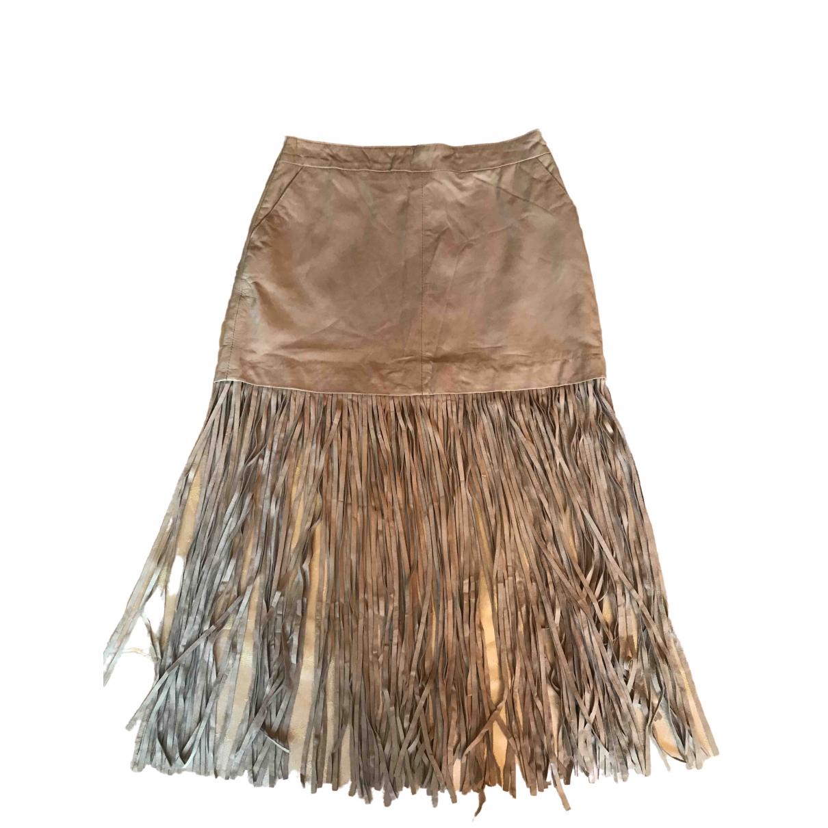- Jupe Hippie Chic pour femme en cuir - beige