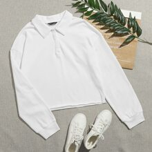 Button Half Placket Solid Sweatshirt