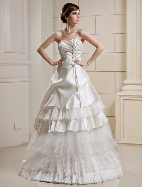 Milanoo Princess Ball Gown Wedding Dresses Strapless Tiered Ivory Satin Bridal Dress