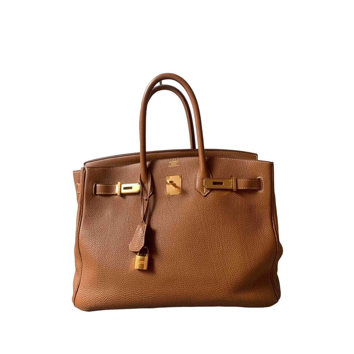 Hermes - Sac a main Birkin 35 pour femme en cuir - marron