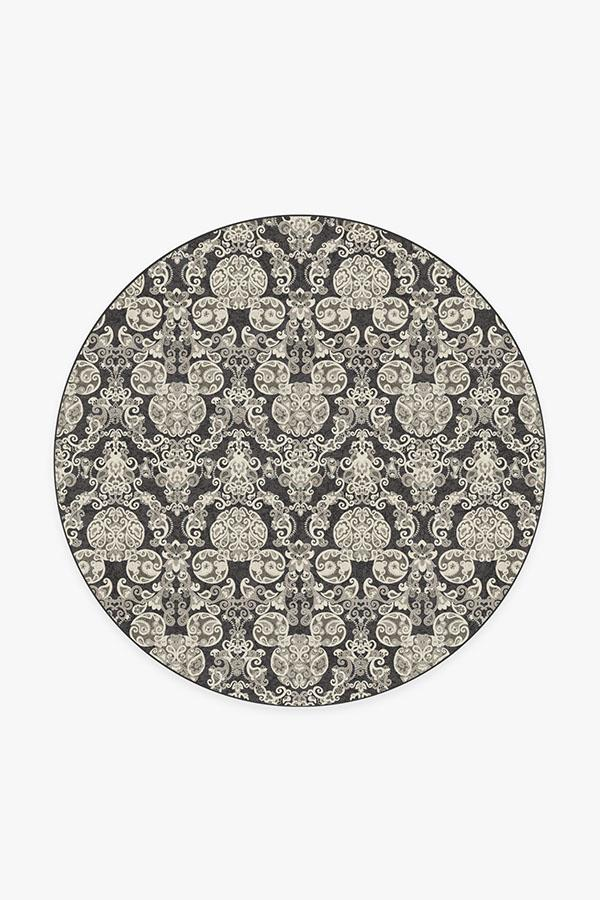 Washable Rug Cover | Mickey Damask Charcoal Rug | Stain-Resistant | Ruggable | 6 Round