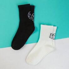 2 pares calcetines con patron de emoji