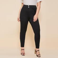 Pantalones Extra Grande Boton delantero Liso Casual