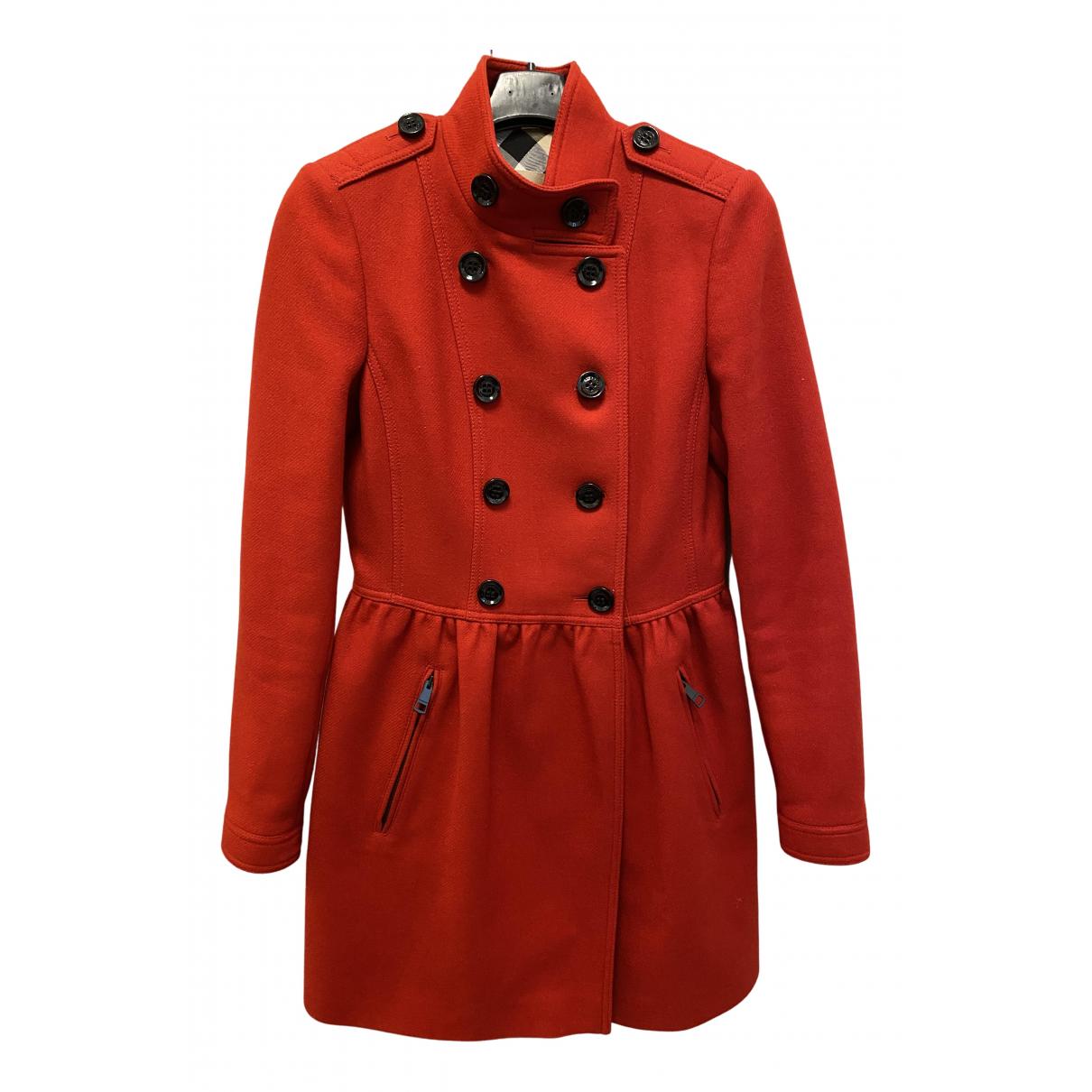 Burberry - Manteau   pour femme en laine - rouge
