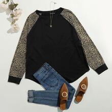 Camiseta de manga raglan de leopardo