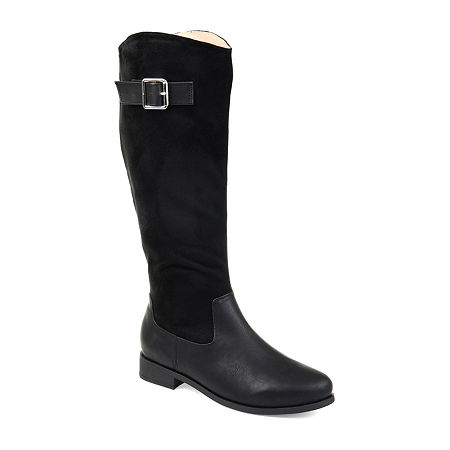 Journee Collection Womens Frenchy Wide Calf Stacked Heel Zip Riding Boots, 6 Medium, Black