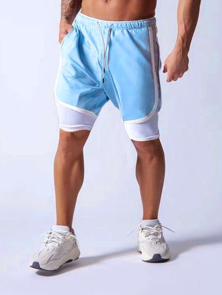 Yoins Men Sports Quick Dry Fashion Pocket Fake Two Piece Sportswear Shorts