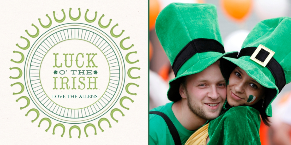 St. Patrick's Day Cards 4x8 Flat Card Set, 85lb, Card & Stationery -Lucky Horseshoe