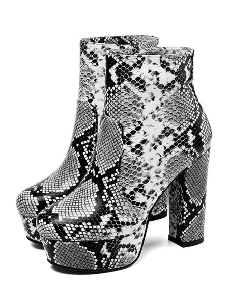 Milanoo Womens Ankle Boots Platform Chunky Heel Snake Print Light Gray Round Toe 4.7 Booties