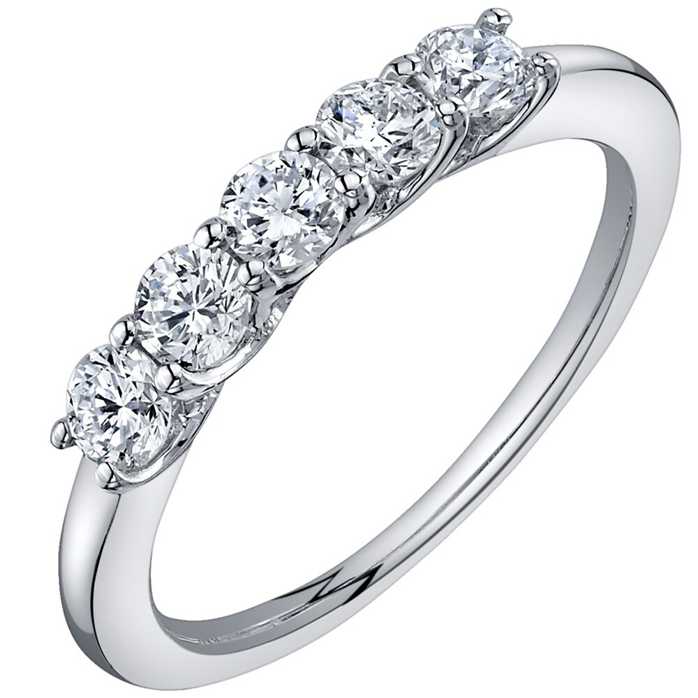 0.5 ct Lab Grown Diamond Five-stone Trellis Ring in 14K White Gold (E-F, SI) (6)