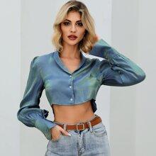 Double Crazy metallisches Crop Shirt mit Knopfen vorn