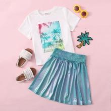 Girls Letter and Tropical Print Top & Metallic Skirt Set