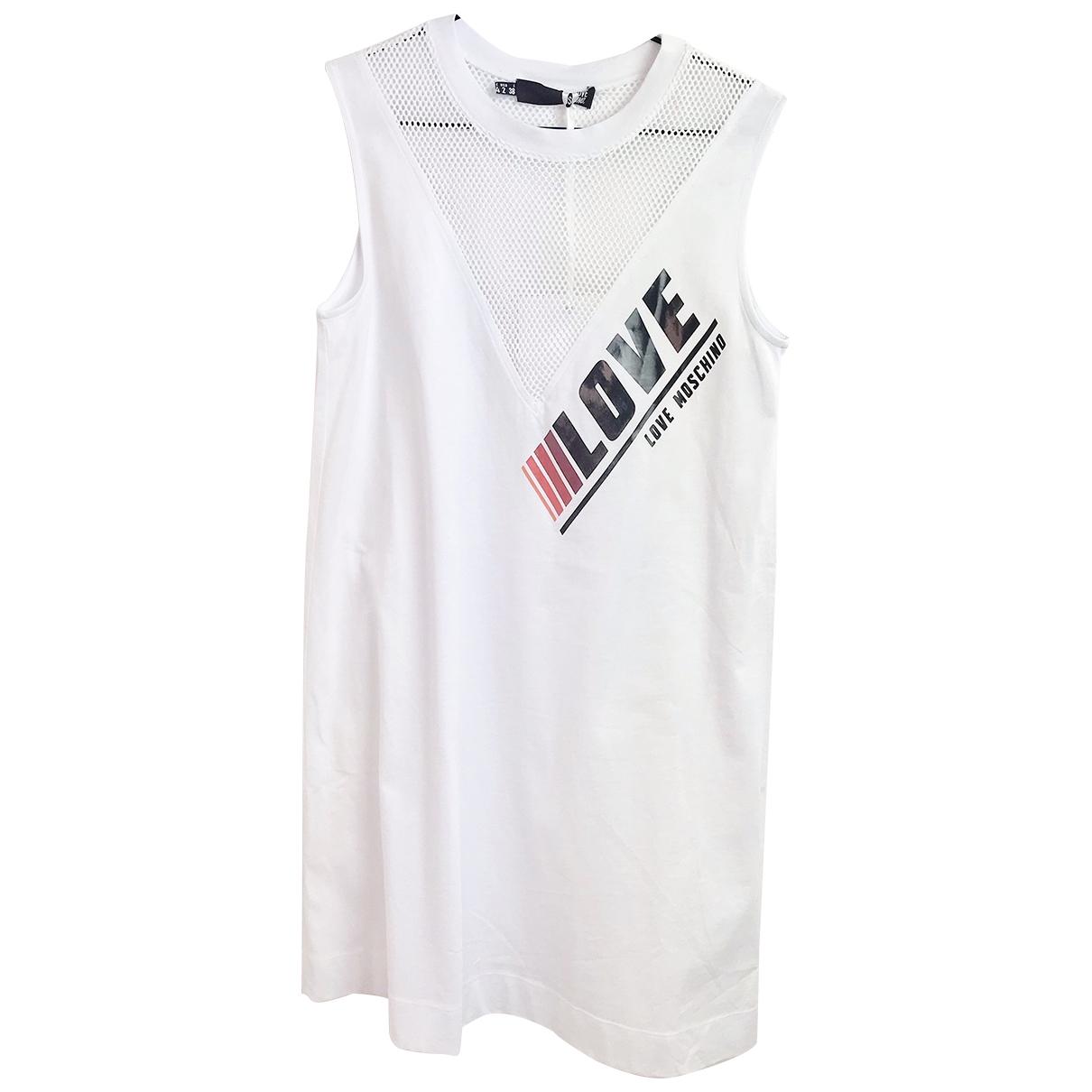 Moschino Love \N Kleid in  Weiss Baumwolle