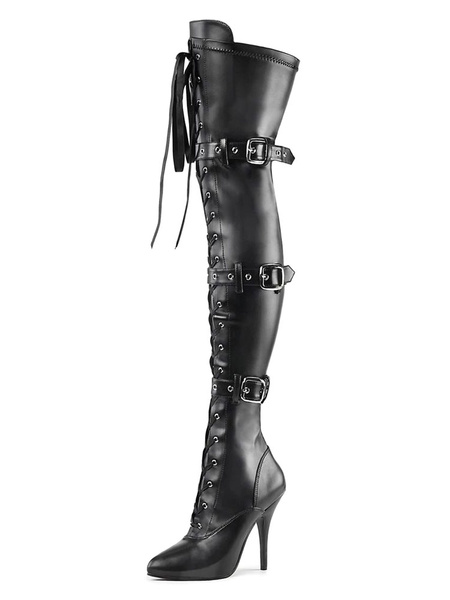 Milanoo Women Sexy Boots Pointed Toe Zipper Sequins Stiletto Heel Rave Club Black Silver Thigh High Boots