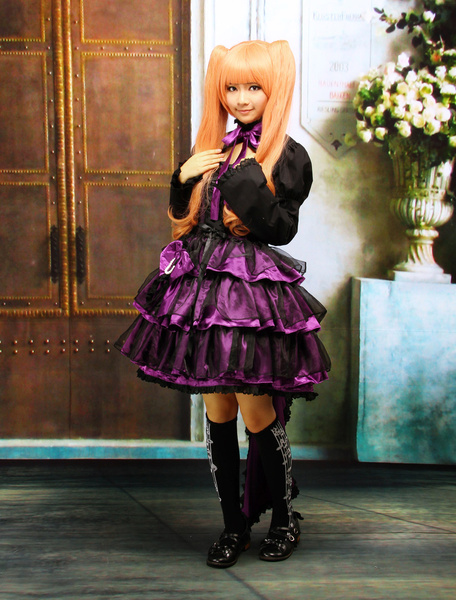 Milanoo Multi-Layer Purple Cotton Long Sleeves Gothic Lolita Dress