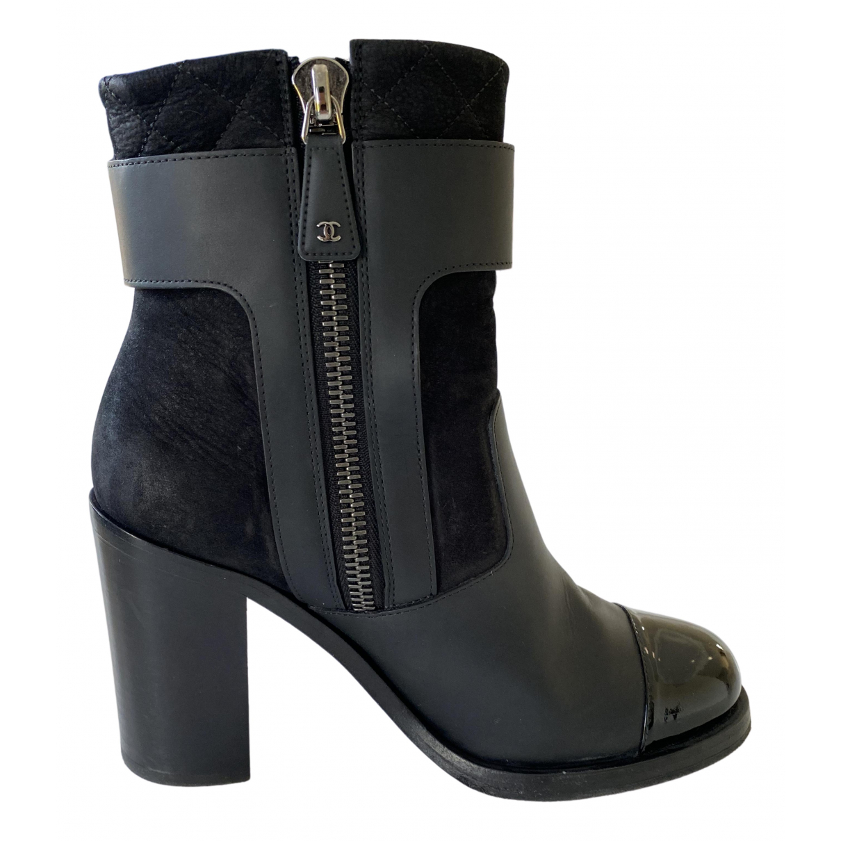 Chanel \N Stiefeletten in  Schwarz Lackleder