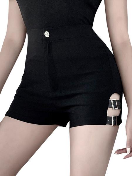 Milanoo Shorts negros Hebilla Slit Shorts de cintura alta