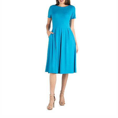 24/7 Comfort Apparel Short Sleeve Midi Dress With Pockets, Medium , Blue
