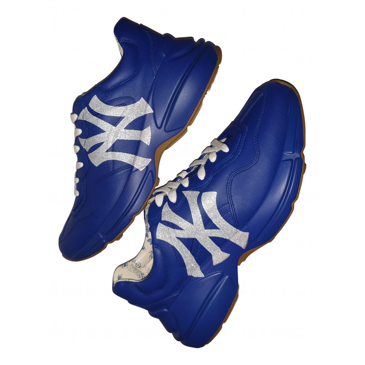 Gucci Rhyton Sneakers in  Blau Leder