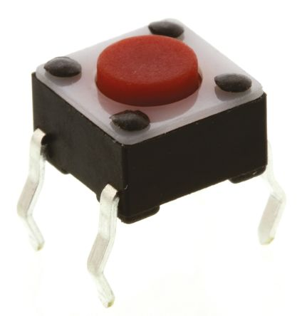 TE Connectivity Red Button Tactile Switch, Single Pole Single Throw (SPST) 50 mA @ 24 V dc 0.7mm (20)