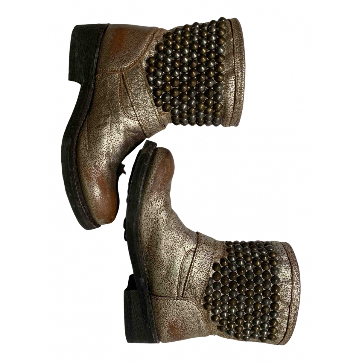 Ash - Bottes   pour femme en cuir - metallise