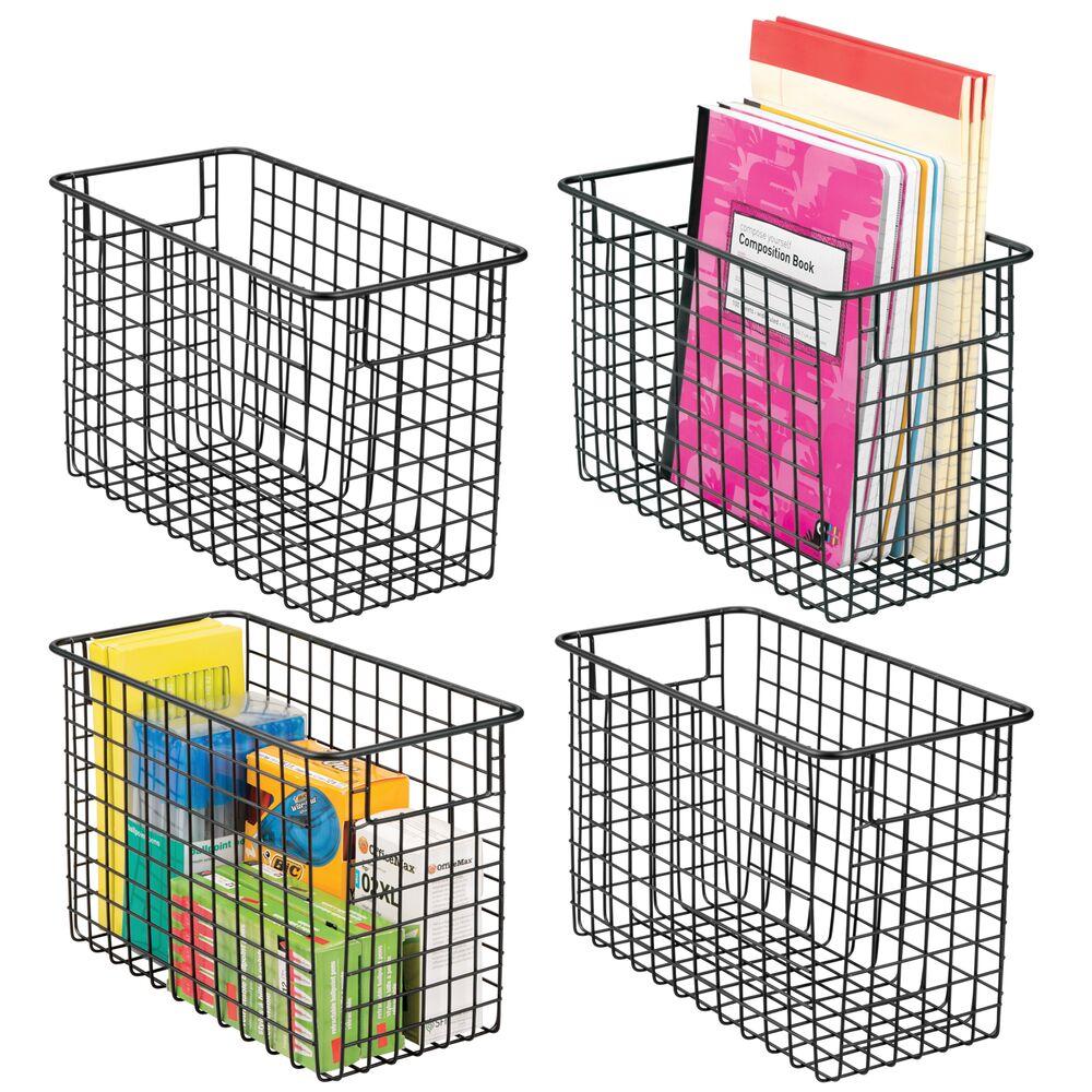 Metal Office Wire Storage Baskets - Pack of in Matte Black, 12