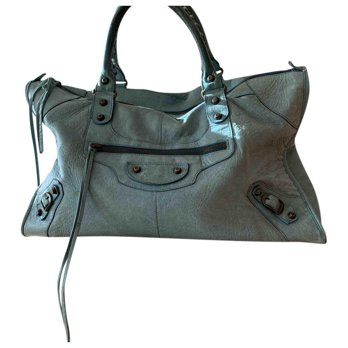 Balenciaga - Sac a main Weekender pour femme en cuir - bleu