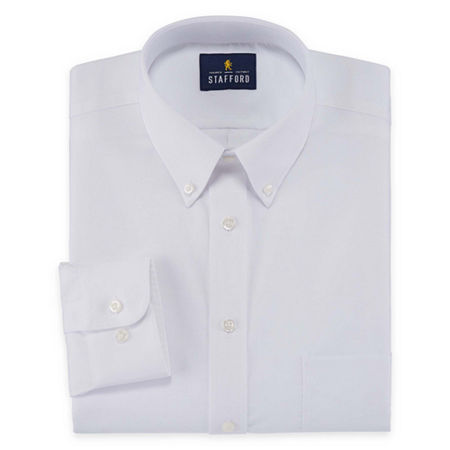 Stafford Mens Wrinkle Free Oxford Button Down Collar Big and Tall Dress Shirt, 19 34-35, White