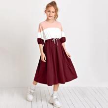 Girls Lantern Sleeve Colorblock Dress