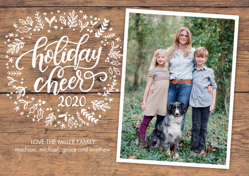 Christmas Photo Cards Flat Glossy Photo Paper Cards with Envelopes, 5x7, Card & Stationery -2020 Holiday Cheer Wreath by Tumbalina