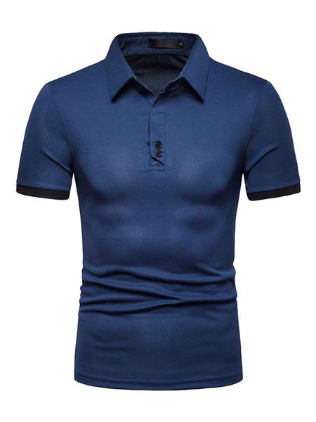 Milanoo Men Polo Shirt Navy Blue Button Decor Two Tone Short Sleeve T Shirt