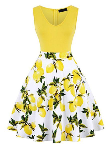 Milanoo Vestido retro 1950 Navy oscuro de la mujer sin mangas con cuello en V vestido de Rockabilly