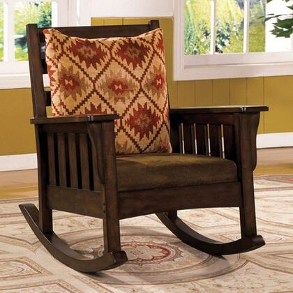 Morrisville CM-AC6401 Rocking Chair with Mission Style Rocker  Solid Wood and Others  Removable Fabric Cushions  Dark Oak Finish in Dark