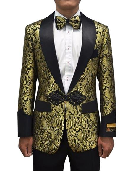 Cheap Mens Printed Flower Jacket Prom modern Tux Gold ~ Black