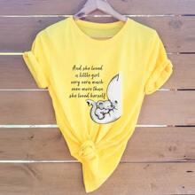 Ubergrosses T-Shirt mit Elefant und Buchstaben Grafik