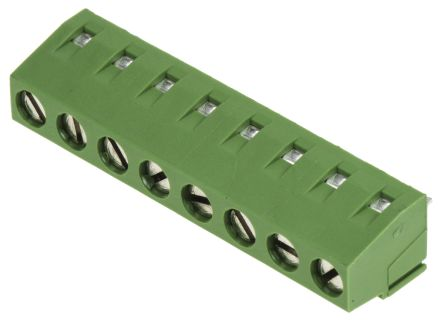 TE Connectivity , Buchanan 5mm Pitch, 8 Way PCB Terminal Strip, Green (5)