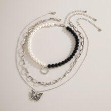 3 Stuecke Halskette mit Schmetterling Anhaenger