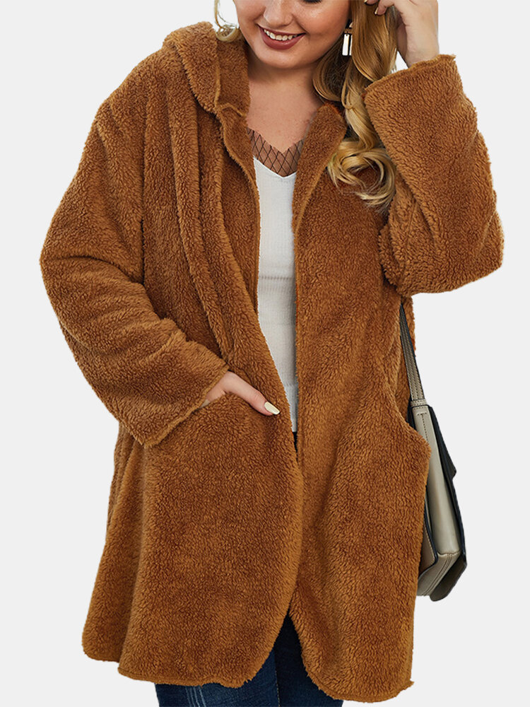 Fleece Solid Color Loose Plus Size Hooded Coat with Pockets
