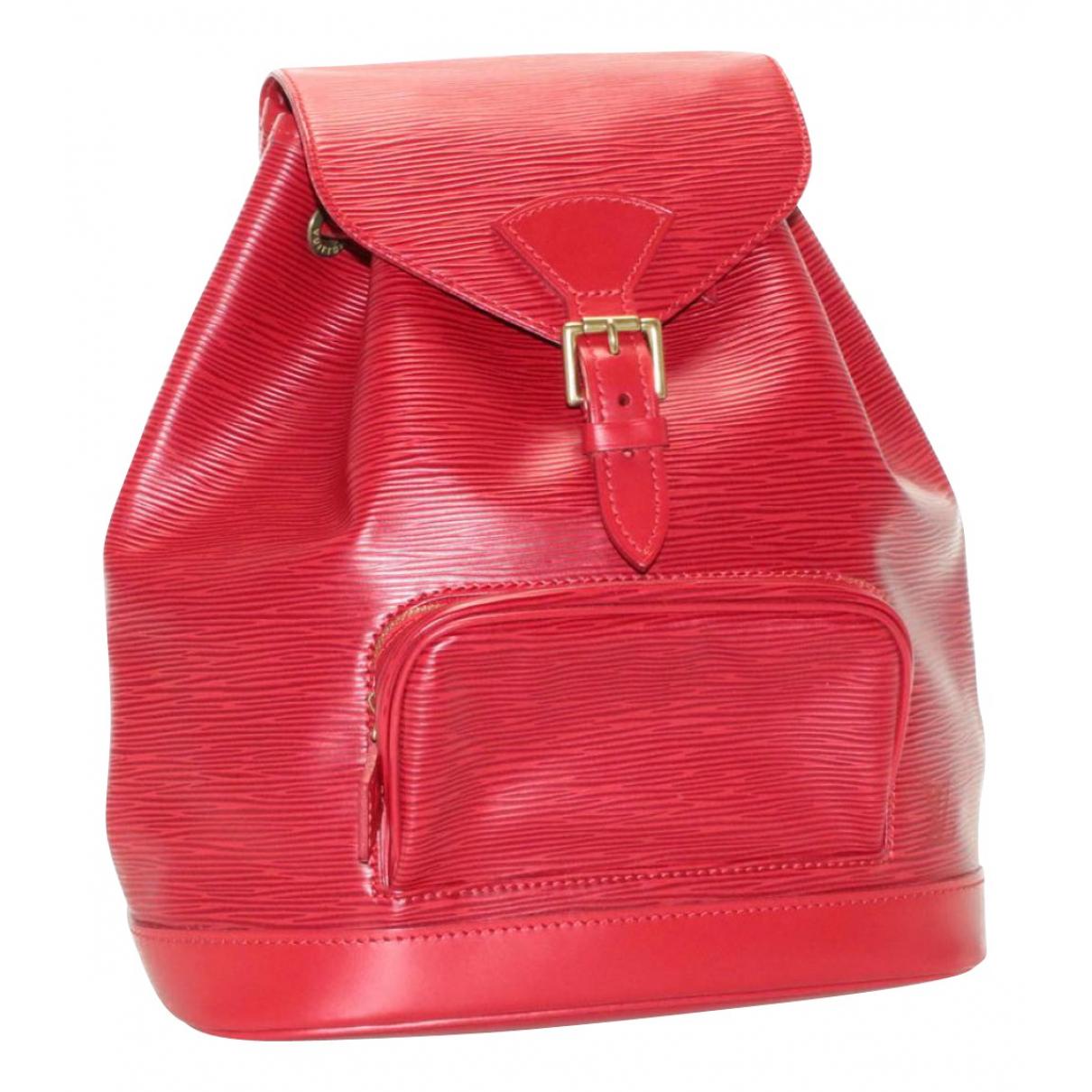 Louis Vuitton Montsouris Rucksaecke in  Rot Leder