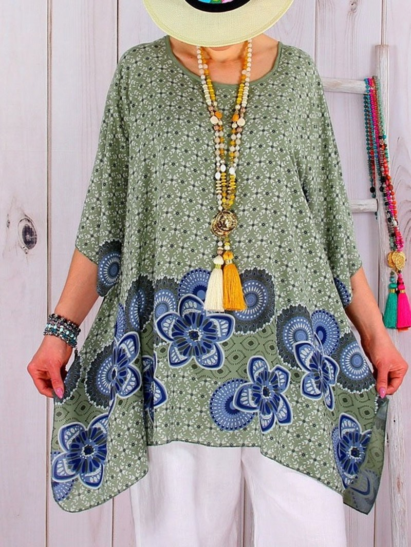 Ericdress Asymmetric Round Neck Floral Loose T-Shirt