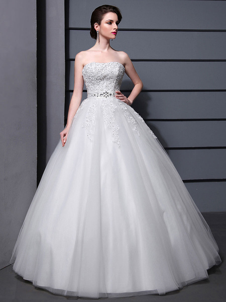 Milanoo Floor-Length White Strapless Ball Gown Embroidered Wedding Dress