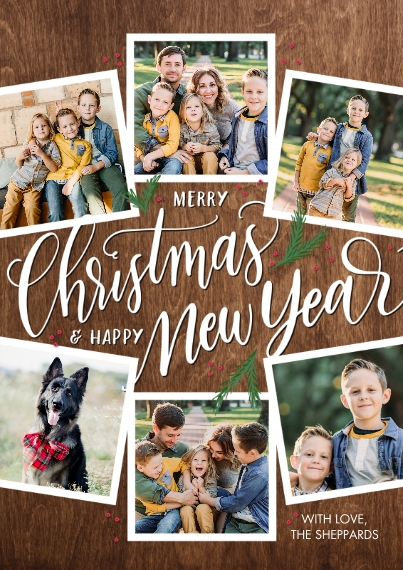 Christmas Photo Cards 5x7 Cards, Premium Cardstock 120lb with Elegant Corners, Card & Stationery -Christmas New Year Woodgrain by Tumbalina