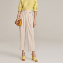 Buttoned Asymmetrical Waist Tailored Pants
