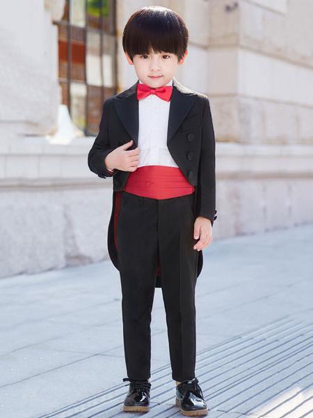 Milanoo Ring Bearer Outfit Black Boys Suits Wedding Kids Formal Wear 5 Piece