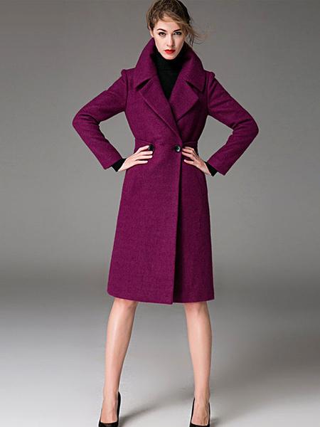 Milanoo Pink Pea Coat Notch Collar Long Sleeve Women's Wool Coats