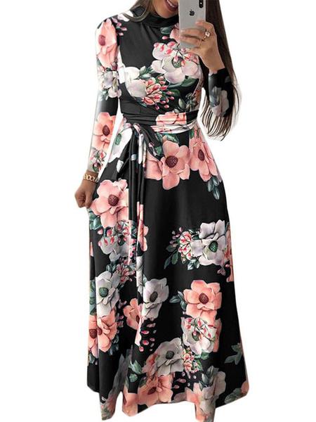Milanoo Floral Maxi Dress Long Sleeves Sash High Collar Swing Dress