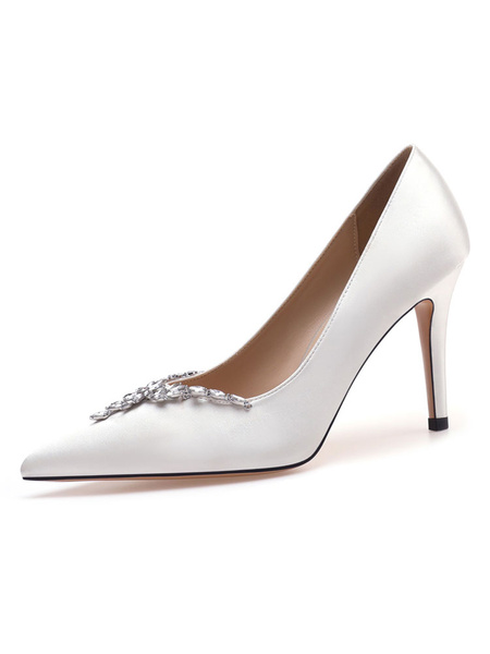 Milanoo High Heel Party Shoes White Pointed Toe Rhinestone Chains Evening Shoes